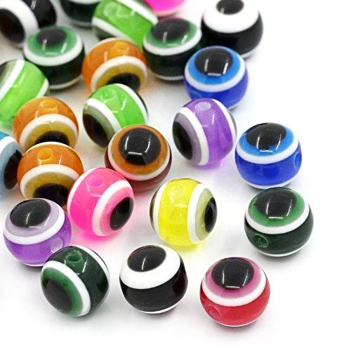 - Resin Beads Round Mixed Eye of Evil Stripe 8mm at Random Dia,300PCs (B22208)