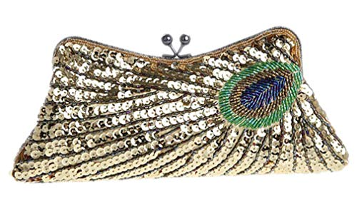 Clutch Vintage Bags Women Wedding Handbag Party Gold Sequins Evening Pattern Beaded Peacock Mini Chain Luxury xR4nqRH
