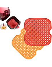 2-Pack Reusable Air Fryer Liners, Silicone Square Round Non-Stick Air Fryer Mats, Heat Resistant and Food Safe, Air Fryer Accessories