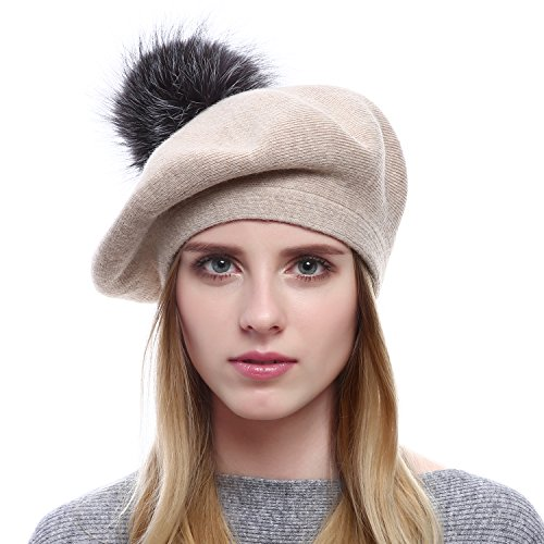 Queenfur Women Wool Beret - Real Silver Fox Fur Pom Pom Beanies Winter Knit Cashmere Hats (Beige)