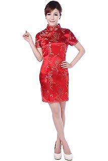 e839f3f14 Jtc Women Cheongsam Short Sleeve Chinese Dress Slim Skirt Wedding Prop  Outfit