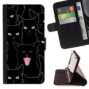 - Black Cat Halloween Cute Design - Estilo PU billetera de cuero del soporte del tir???¡¯????n [solapa de cierre] Cubierta- For Sony Xperia m55w Z3 Compact Mini £¨ Devil Case £©
