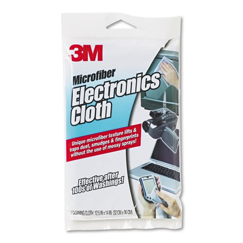 3M Products - 3M - Microfiber Electronics Cleaning Cloth, 12.5 x 14.1, White - Sold As 1 Each - Keeps computers, monitors, TV screens, CD/DVD players and other electronic devices free from dust and smudges. - Safe to use on virtually any surface in the home or office. - Machine washable for repeated use.]()