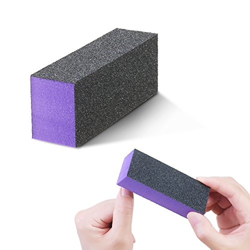 Kloud City 10 Pack Nail File Buffer Block 3 Way 180 Grit Emery Board Nail Polish Sanding Buffing Block Files Salon Manicure Pedicure Kit (Purple Nail File)