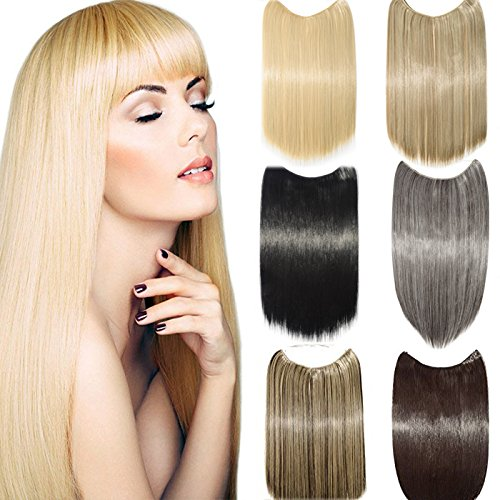 "s-noilite [Promo] 20""/24"" Straight Secret Wire Flip In No Clip Hair Extensions Natural Hidden Wire Synthetic Hairpieces No Clip Hair Extensions (Sandy Blonde & Bleach Blonde, 20""-Straight)"