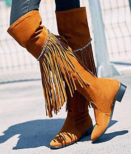 Idifu Kvinners Stilig Lave Chunky Hæler Ridestøvler Over Kneet Sokker Med Dusker Brun