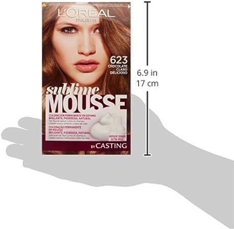 LOréal Paris Sublime Mousse Coloración Permanente, Tono: 623 Chocolate claro delicioso