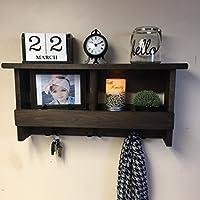 Rustic wooden shelf with hooks | Coat rack | Key holder | Entryway decor | Rustic decor