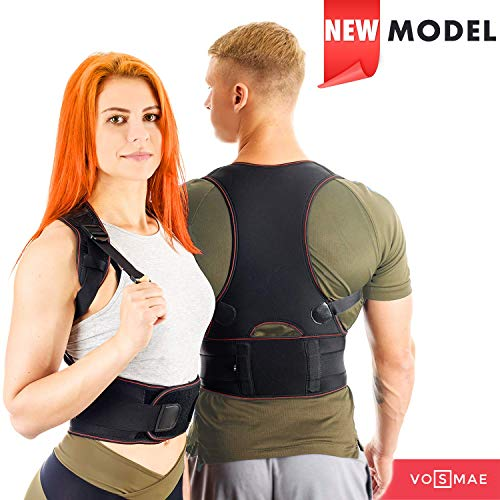 VOSMAE Posture Corrector Back Brace for Woman Men - Improve Universal Comfortable Fully Adjustable Spine Corrector - Clavicle Support Improve Bad Posture Shoulder Alignment and Pain Relief (M)