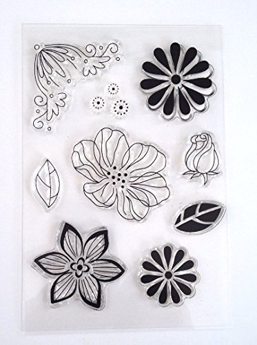 9 pieces Flower Rose Leaf Set Clear Silicone Acrylic Rubber Stamp Scrapbook Cardmaking unmounted Stamp Acrylic Unmounted Stamp Set
