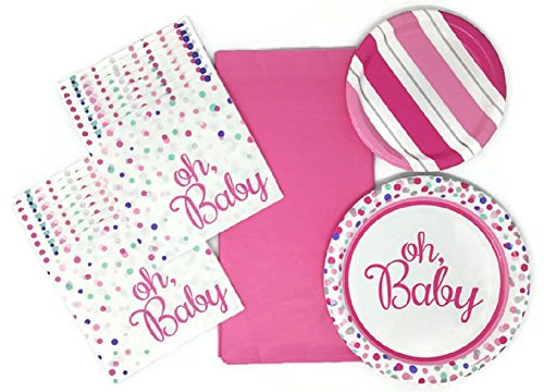 Its a Girl Baby Shower Plates Napkins and Tablecloth Bundle of 4, Service for 15