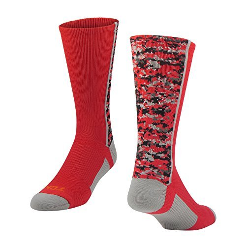 TCK Digital Camo Crew Socks (Red, Small)