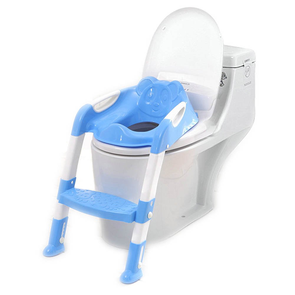 Kentop Siège de Toilettes Pliable pour Enfant avec escalier, Polypropylène, Bleu, 40cm