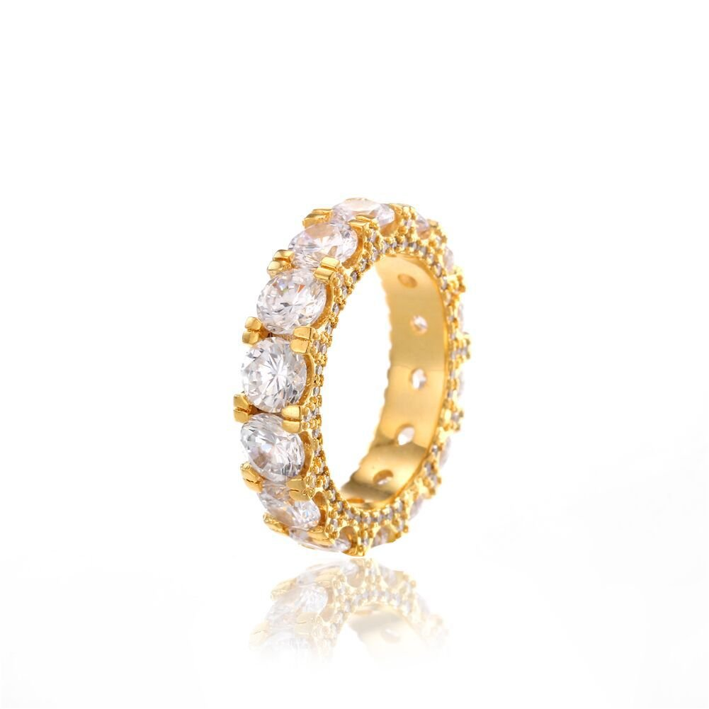 Jewelrysays Hip Hop CZ Jewelry Mens Fashion Zircon 1 Row Tennis Ring Gold Plated Dimond Ring Gifts