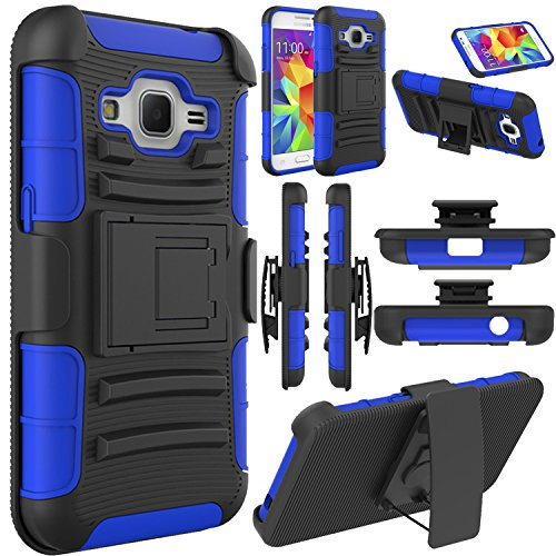 Galaxy Core Prime Case, Elegant Choise Hybrid Full Body Protective Holster Case with Kickstand + Belt Clip for Samsung Prevail LTE(Blue)