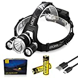 Boruit LED Headlamp 3xOriginal Cree XML T6 5000 Lumens Waterproof Headlight with Rechargeable 18650 Batteries Bright Adjustable Hands-Free Flashlight for Camping Hunting (RJ3000PLUS Black)