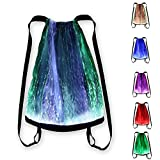 LED Light up Backpack 6 Glowing lights Bag For Rave Music Festival Party Concert Halloween, Unisex Fiber Optic Flashing Drawstring Bag