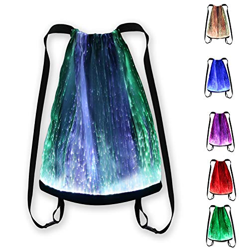(LED Light up Backpack 6 Glowing lights Bag For Rave Music Festival Party Christmas Halloween, Unisex Flashing Drawstring)