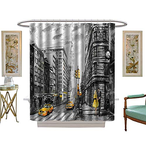 luvoluxhome Shower Curtains Digital Printing Oil Paint on Canvas Street New York Man and Woman Yellow Taxi Artwork New Bathroom Decor Set with Hooks W54 x L78 (New York Yankees Rock)