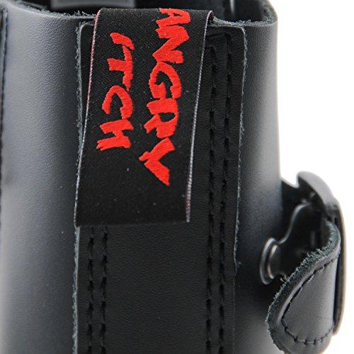 Angry Itch - 10-trous gothique punk cuir noir rangers avec 3 boucles & zip - pointures 36-48 - Fabriquée en EU!