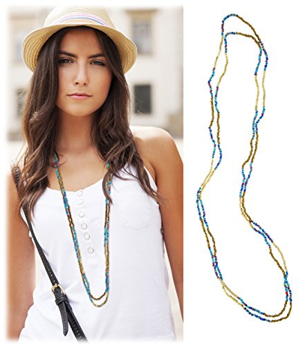 [2 Strand Blue Multi-Colored Sequin Gold Long Necklace - SPUNKYsoul Collection] (Necklace Love Beads)