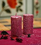 Blackberry Overseas Set Of 2 Decorative Pillar Shaped Sparkle Candle