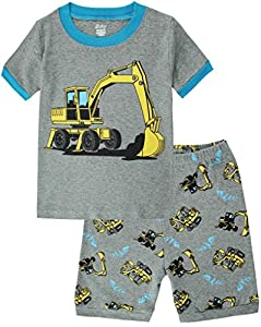 Boys Pajamas Truck Cotton Kids Clothes Short Sets Size 2Y-7Y