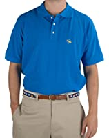 Blue Pique Polo Shirt - Yellow Embroidered Logo