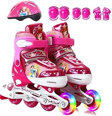 Adjustable children's eight round full flash skates set inline roller skates set for 35-38 yards pink