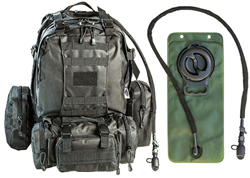 Military Rucksack - Monkey Paks Tactical Military Backpack Bundle with 2.5L Hydration Water Bladder and 3 Molle Bags (Black)