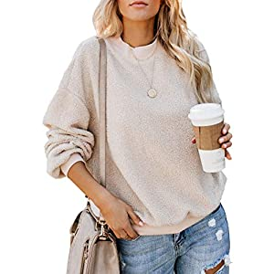 Dokotoo Womens Solid Color Casual Fleece Fluffy Crewneck Long Sleeve Fashion Sweatshirts Tops Pullovers