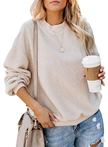 Acelitt Womens Ladies Winter Oversized Cozy Fluffy Fleece Long Sleeve Round Neck Pullover Sweatshirt Top Soft Casual Loose Outerwear Coat Beige Medium