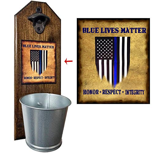"""""""Support the Blue"""" Bottle Opener and Cap Catcher - Handcrafted by a Vet - Solid Pine 3/4"""" Thick, Rustic Cast Iron Opener and Galvanized Bucket - Law Enforcement - Police - Heroes from CherryPic Junction"""