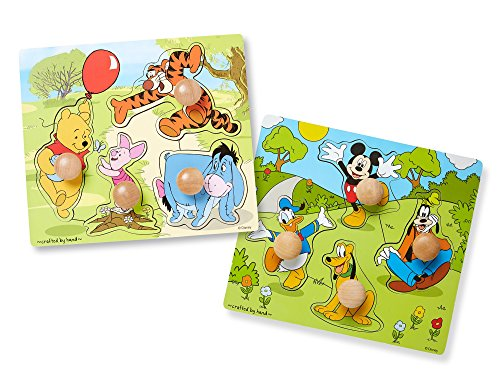 Melissa & Doug Disney Winnie the Pooh and Mickey Mouse Jumbo Knob Wooden Puzzles Set