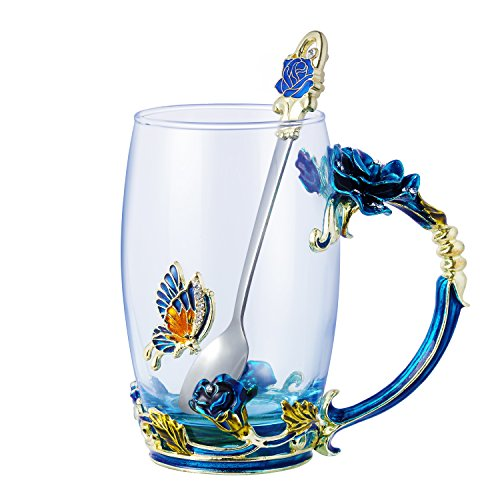 Wind life Clear Glass Tea Coffee Cups & Spoon,12oz Mugs (Blue rose x)