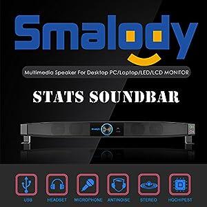Smalody Portable USB HIFI Speakers for Desktop Computer Soundbar 5W Stats Soundbar 9010 Stereo Sound PC Laptop Multimedia Speaker(Black)