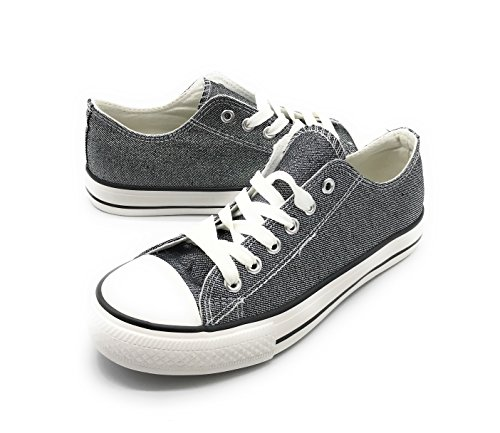 (EASY21 Women Canvas Lace Up Shoe Fashion Casual Comfort Sneakers,Pewter Glitter,7.5)