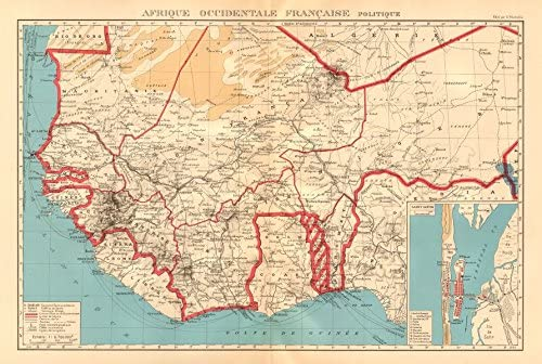 Francés África Occidental. Afrique Occidentale Française. Saint-Louis, Senegal – 1938 Antiguo Antiguo Mapa Vintage – Juego de funda nórdica Mapas de África ...