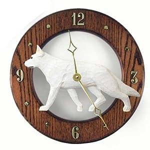 Michael Park White German Shepherd Dog Wall Clock in Dark Oak 20
