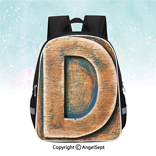School Student Backpack,Scratched Wooden Timber Typography Character Rough Display Font Language Decorative,13