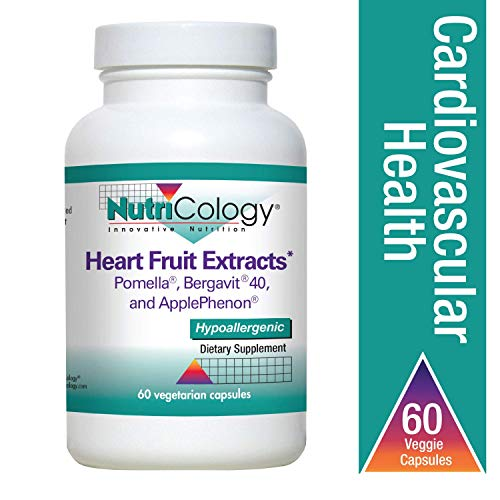 Nutricology Heart Fruit Extracts, 60 Capsules, Antioxidant Flavonoids & Polyphenols from Pomegranate, Bergamot Citrus, Unripe Apple Extracts, Hypoallergenic Vegetarian Capsules