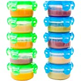 Elacra 10-Pack Baby Food Storage Freezer Containers - Snack and Lunch Containers for Kids and Toddlers, 3.4 oz, 5 Blue and 5 Green Microwave and Leakproof Containers