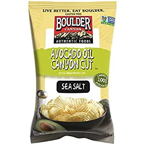 Boulder Canyon Kettle Cooked Potato Chips, Avocado Oil Canyon Cut, Sea Salt, 5.25 Ounce, (Pack of 12)