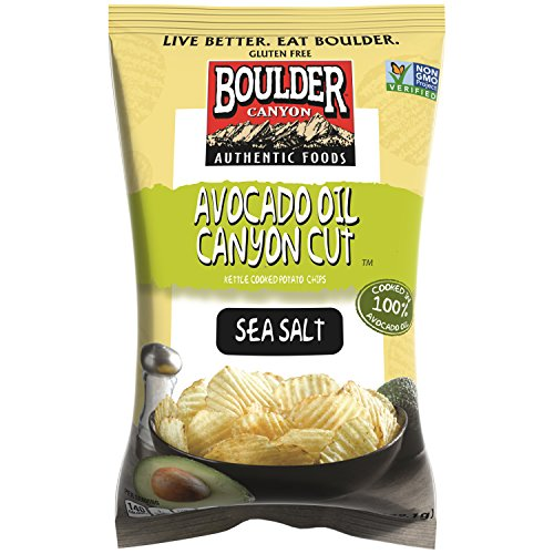 Boulder Canyon Kettle Cooked Potato Chips, Avocado Oil Canyon Cut, Sea Salt, 5.25 Ounce, (Pack of