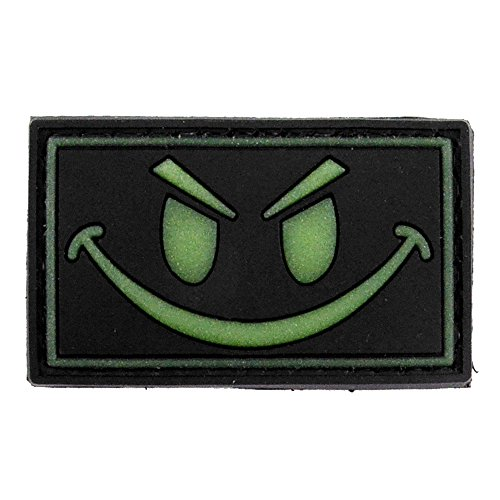 LIVABIT PVC Rubber 3D Morale Patch MP-15 Tactical Airsoft Paintball Black Glow In The Dark Smiley Face