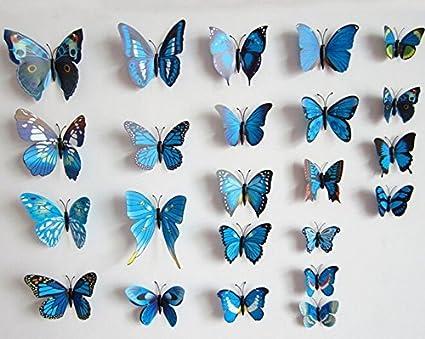 Ruikey Etiquetas Engomadas de la Pared 3D,Etiquetas Engomadas de la Decoraci/ón del Refrigerador del Sitio del Beb/é del Dormitorio de la Sala de Estar,12 Mariposas