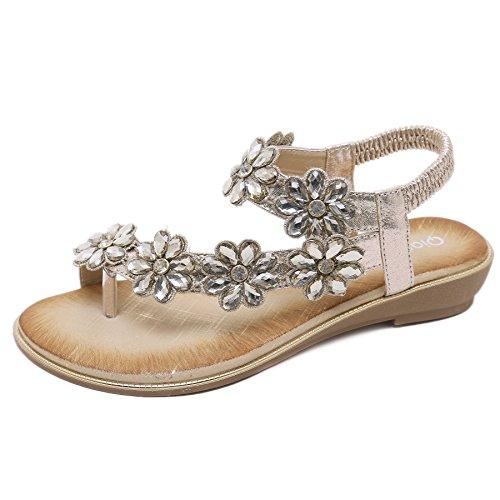 (LUXINYU Womens Bohemia Flat Sandals Summer Beach Elastic Sparkle Flower Ankle Strap Flip-Flop Shoes Gold 38(US7))