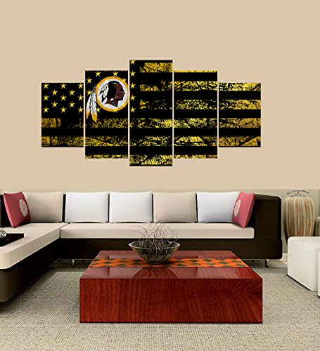 PEACOCK JEWELS [Large] Premium Quality Canvas Printed Wall Art Poster 5 Pieces / 5 Pannel Wall Decor Washington Redskins Logo Painting, Home Decor Football Sport Pictures- Stretched ()