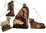God's Gift of Love Decoupage on Wood Christmas Nativity Ornament Set, 6 Inch