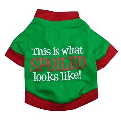 Coohole Christmas Pet Dog Printed Snow Fawn Interlock Christmas Pet Shirt Clothes (L, Green) (Green Text Hoody White)